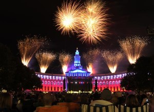 Thousands of people packed Denver's Civic Center Park for the annual Colorado Symphony concert, light show, and fireworks display Tuesday evening, July 3, 2012.  Karl Gehring/The Denver Post